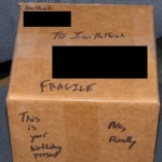 The sealed and addressed box.
